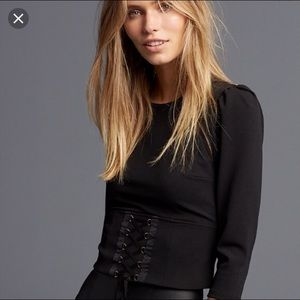 EXPRESS 3/4 sleeve corset tie top